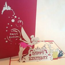 POP UP birthday card - tinkerbell fairy with delicate wings and wand