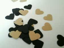 200 BLACK AND GOLD HEART TABLE CONFETTI. WEDDING PARTY HEN NIGHT BIRTHDAY