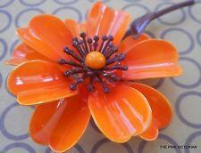 VIBRANT! Long stem ORANGE petals & BROWN accent vintage FLOWER PIN brooch PN321