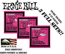 **3 PACK ERNIE BALL 2253 CLASSIC ROCK N ROLL SLINKY ELECTRIC GUITAR STRINGS **