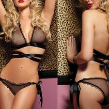 Fashion Sexy Ribbon Lingerie Lace Dress Babydoll Sleepwear Underwear G-String
