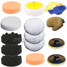 15Pcs 150mm&180mm High Gross Polishing Buffing Pad Kit for Car+Drill adapter-M14