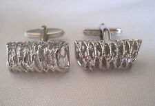 Vintage Silver-Tone Cufflinks, New Old Stock, Unusual Design