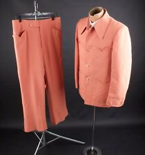 Vtg 1970s Orange Polyester Western Leisure Suit Jacket sz M Pants 34x28 #1840