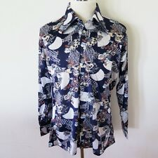 VINTAGE ORIGINAL 1970s DISCO SHIRT OLEG CASSINI BY BURMA LARGE BLUE FLORAL NOS