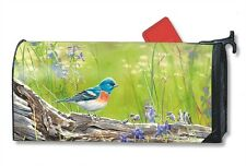 Meadow Bluebird Mail Box Wrap bird on log magnetic Mailwrap mailbox cover