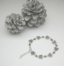 Pretty Butterfly and Flower Bracelet Tibetan Silver - Hand Made by us in the UK