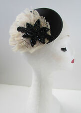 Black Cream Ivory Peacock Feather Net Fascinator Headpiece Vintage Hair Clip Z36