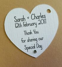 10 personalised small white love heart thank you guest label favour tags
