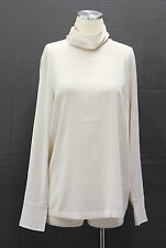 .NWT $1195 Brunello Cucinelli Silk Crepe Mock Turtleneck Monili Trim Blouse Sz L