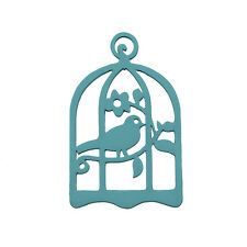 Hand Carved Wood Bird in Cage Pendant Teal 32x50mm Pack of 1 (M90)