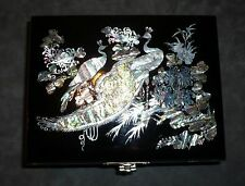 Black Lacquer and Mother Of Pearl Musical Jewelry Box - Beautiful