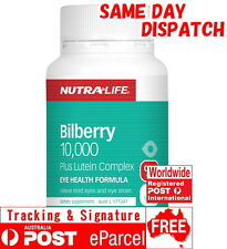 Nutra Life Bilberry 10,000 plus Lutein Complex 30 Tabs Anthocyanosides Eyebright