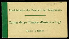 FRANCE : 1906-21. Yvert #137C3 Complete Booklet of 40. Very Fine, MNH. Cat €370.