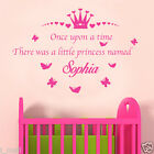 Personalised Once Upon A time Princess Name Removable Kids/ Nursery Wall Sticker