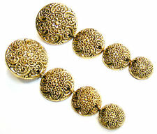 GOLD 3 ROUND ORNATE DISCS DRAG QUEEN DROP DANGLE EARRINGS FREE UK POST! GE13