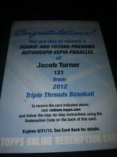 2012 Triple Threads Jacob Turner Rookie Patch Auto Rare Sepia Parallel Wow