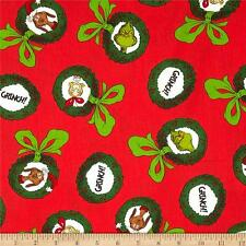 How the Grinch Stole Christmas Fabric BTY Robert Kaufman, Red