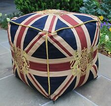 English Union Jack British Monarch Coat of Arms Ottoman Pouf Footstool Square