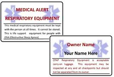 Medical Alert CPAP Respiratory Equipment Airline Baggage ICE Card.