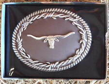 NOCONA BARBED WIRE/LONGHORN WESTERN BELT BUCKLE