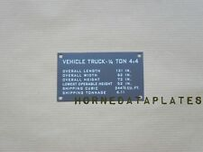 SHIPPING PLATE JEEP WILLYS MB DATA PLATE GPW TAG