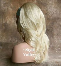 Straight Bleach Blonde 3/4 Wig Fall  Hair Piece Long with wavy ends