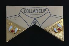 Masonic Shriner Collar Tip Set in Gold Plating with Gold Emblems (EES)