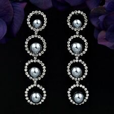Alloy Gray Pearl Crystal Rhinestone Wedding Drop Dangle Earrings 08484 Black N.