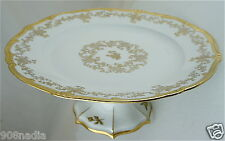 VINTAGE WHITE,GOLD FLOWER GARLAND,FOOTED LARGE CAKE PLATE GERMANY MADE
