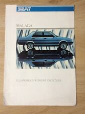 SEAT MALAGA 1985 CAR BROCHURE 4 DOOR SALOON 1.2 1.5 TECHNOLOGY WITHOUT FRONTIERS