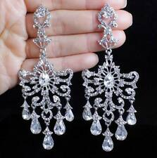 HUGE VICTORIAN AUSTRIAN CRYSTAL RHINESTONE DROP CHANDELIER DANGLE EARRINGS E2097