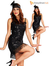Ladies 1920s Flapper Costume Womens 20's Charleston Fancy Dress Outfit 10 12 14
