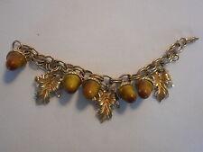 """Vintage """" Florenza """" signed Dangling Acorn Bracelet Matte Gold-tone AeB"""