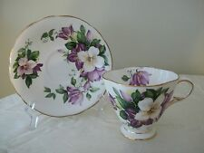 Purple & White Clematis Flower Clarence Bone China Tea Cup Saucer England