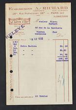"""PARIS (XI°) Fabricant de BRONZE & CERAMIQUE ARTISTIQUE / LAMPE """"A. RICHARD"""" 1930"""