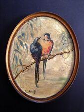 SUPERBE ET ANCIENNE PEINTURE ART DECO 1930 HIRONDELLES SUR UNE BRANCHE SIGNEE