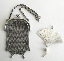 French Antique Victorian Silver Chain Mesh Doll Purse & Vintage Folding Doll Fan