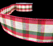 "2 Yds Country Christmas Primitive Rustic Red Green Plaid Wired Ribbon 1 1/2""W"