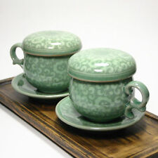 Korea Celadon Infuser Cup / traditional arabesque pattern / Set of 2 / gift set