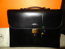 Authentic HERMES  Sac a Depeche 38 Box Calf BRIEFCASE