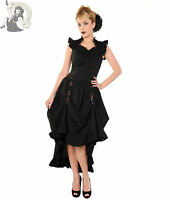 BANNED BLACK GOTHIC goth COPPER VICTORIAN steampunk LONG DRESS UK 8-20