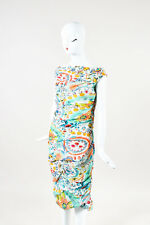 Moschino NWOT Multicolor Floral Print Silk Ruched Dress SZ 12