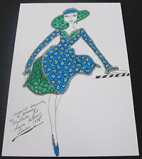 Roz Jennings Fashion Drawing Original Art Work Illustrator Laura Ashley 1970 A12