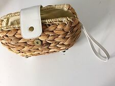 Straw Clutch with White Accents: Wristlet, Summer, Wedding, Purse, Tropical
