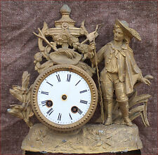 French Gilt Spelter Clock  Parts  Fisherman Paris 19th C