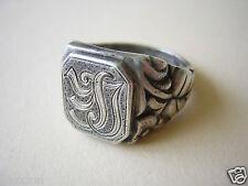 """835 Silber Ring Siegelring Blatt Verziert Monogramm """"LE"""" 7,8 g/17,2 mm Gr.54"""