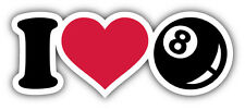 I Love Billiards Car Bumper Sticker Decal 6'' x 2''