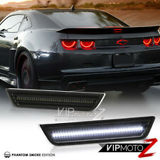 2010-2015 Chevy Camaro Rear WHITE LED Smoked Side Marker Lights Bumper Lamps SET