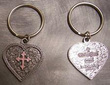 Pewter Key Ring Western Grace Heart Pink Cross NEW